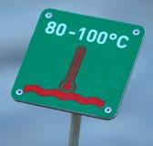 High temperature warning sign, Geysir, Iceland Stock Image