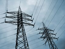 High-Tension. Wires in a power plant Royalty Free Stock Image