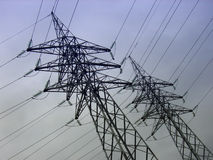 High-Tension Distribution. High-voltage electricity wires in a power plant Royalty Free Stock Photography