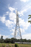 High tension eclectic power tower. On ground outdoor stock photos