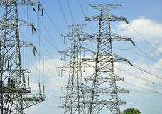 High-tension line and Transformer Stock Photography