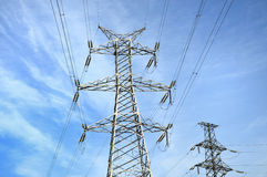 High-tension line and Transformer Royalty Free Stock Images