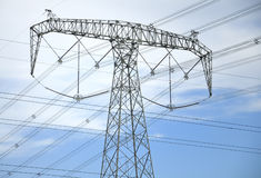High-tension line and Transformer Stock Image