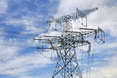 High-tension line and Transformer Stock Images