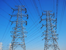 High-tension line and Transformer Stock Photos
