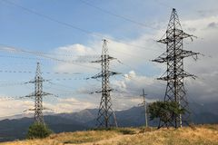 High-tension lines of the issues. Lines of the issue to high-tension energy royalty free stock photo