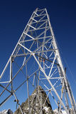 High tension pole. Construction of a high tension pole in the mountains Royalty Free Stock Photos