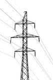 High-tension power line. Isolated over white stock photography