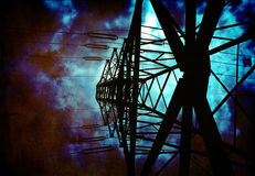 High Tension Power lines. Grunge High Tension Power lines Royalty Free Stock Photo