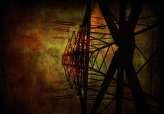 High Tension Power Lines. Grunge Royalty Free Stock Photography