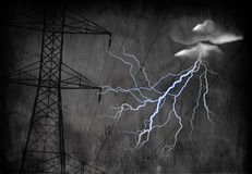 High Tension Power Lines. Grungy High Tension Power Lines with Electric with heavy texture Stock Photography