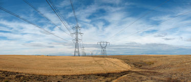 High tension power lines and towers. Stetching to horizon, northern Oregon royalty free stock images