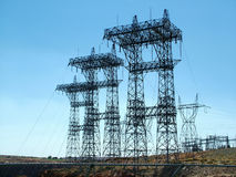 High tension power near Hoover Dam Royalty Free Stock Photography