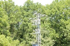 High tension power post. In natural area in Olot, Girona, Catalonia, Spain stock photos