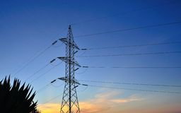 High tension pylon at dawn Stock Photo