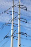 High tension pylons with powerlines Royalty Free Stock Photo