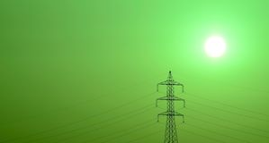 High tension tower at sunrise with green color effect Stock Images