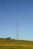 High tension towers. Landscape with high tension towers royalty free stock photography