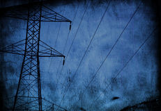 High Tension wire Grunge. High Tension wire Blue Grunge Stock Image