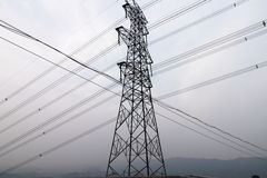 High-tension wires Stock Photo