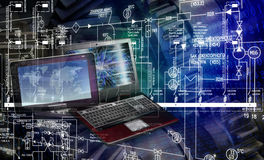High think computers technologies. Designing engineering software in generation industrial manufacturing technology Stock Images