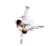 High throw judo are doing athletes  on a white background isolated Royalty Free Stock Image