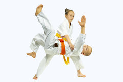 High throw judo in perfoming young athletes. Throw judo in perfoming young athletes Royalty Free Stock Photo