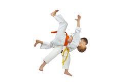 High throws judo are training athletes in judogi Stock Photos