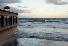 High tide at a beach resort in Southern California Stock Photos
