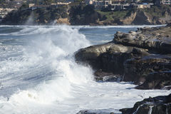High Tide Coastal Waves Hitting the La Jolla California Shore Royalty Free Stock Photo