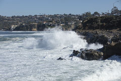 High Tide Coastal Waves Hitting the La Jolla California Shore Royalty Free Stock Image