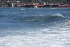 High Tide Coastal Waves Hitting the La Jolla California Shore Royalty Free Stock Photos
