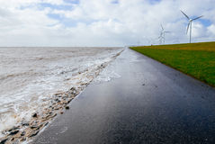 High Tide at a Dyke Royalty Free Stock Images