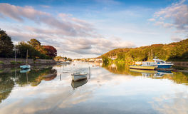High Tide at Millbrook in Cornwall. Boats at hight tide on the river Tamar at Millbrook in Cornwall Royalty Free Stock Images