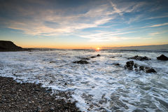 High Tide. At Northcott Mouth beach near Bude on the Cornwall coast Stock Image