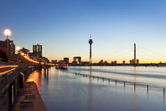 High tide of the Rhine at Dusseldorf Royalty Free Stock Photo