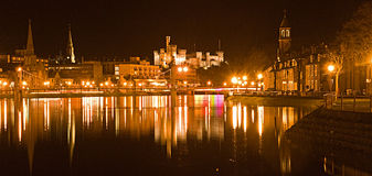 High tide on the River Ness. An image of Inverness and the Castle with the River Ness at high water and meeting the incoming tide Stock Photography