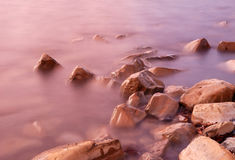 High Tide on a Rocky Beach Royalty Free Stock Photos