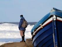 High tide at Sandsend stock images