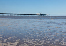 High tide at Southport pier in England Royalty Free Stock Image