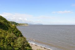 High tide at st Audries bay, Somerset. Landscape of the northern coast of Somerset with high tide stock photos