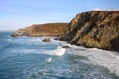 High tide surf waves at Trevaunance Cove. Royalty Free Stock Photography