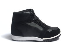 High top black sneakers Stock Photo