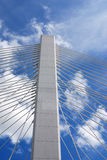 High tower. Bridge tower reaching to the skies and full with tension Royalty Free Stock Photography