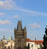High tower with battlements of the Charles Bridge in Prague Old. High tower with battlements from the Charles Bridge in Prague Old Town in Czech Republic Europe Royalty Free Stock Photography