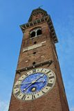 Tower with clock in red brick Basilica Palladiana in vicenz Royalty Free Stock Photo