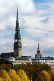 The high tower of the Dome Cathedral in Riga in autumn Royalty Free Stock Image