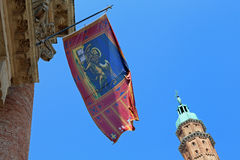 High tower with flag in Vicenza city Italy Stock Photos