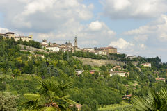High town skyline from west, Bergamo Royalty Free Stock Photography