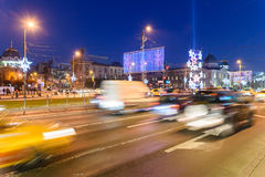 High Traffic On Christmas Eve Downtown Of Bucharest City At Night Stock Photo